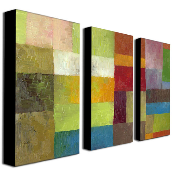 Abstract Color 3-Panel Canvas Wall Art - JCPenney