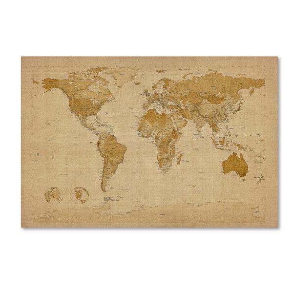 Antique world map canvas wall art jcpenney antique world map canvas wall art gumiabroncs Gallery