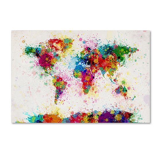 Paint splashes world map canvas wall art jcpenney paint splashes world map canvas wall art gumiabroncs Images