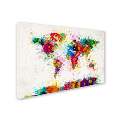 Paint Splashes World Map Canvas Wall Art