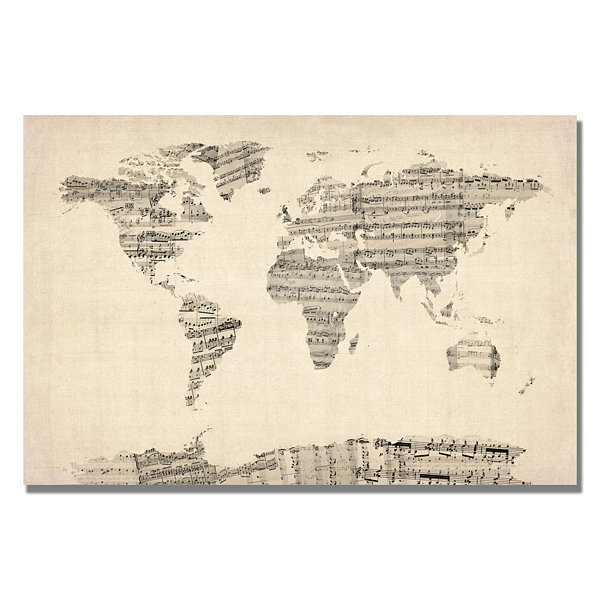 Old sheet music world map canvas wall art jcpenney old sheet music world map canvas wall art gumiabroncs Gallery