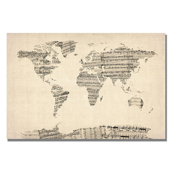 Old Sheet Music World Map Canvas Wall Art
