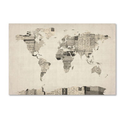 Vintage Postcard World Map Canvas Wall Art
