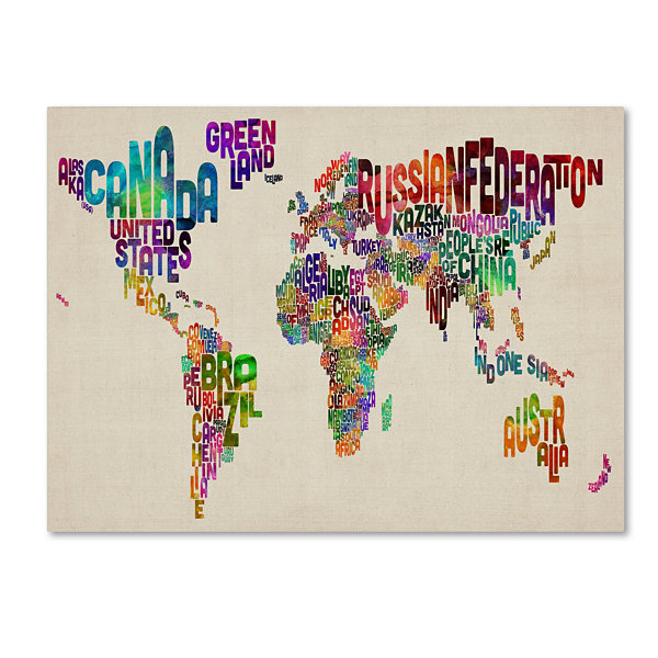 Typography World Map Canvas Wall Art