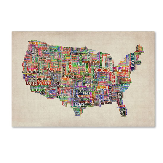 U.S. Cities Text Map Canvas Wall Art