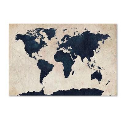 World Map Navy Canvas Wall Art