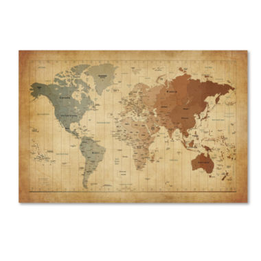 Time Zones World Map Canvas Wall Art