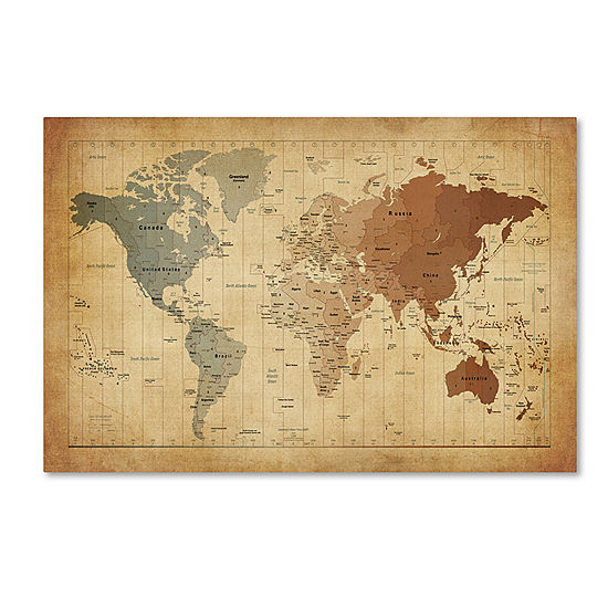 Time zones world map canvas wall art jcpenney time zones world map canvas wall art gumiabroncs Choice Image