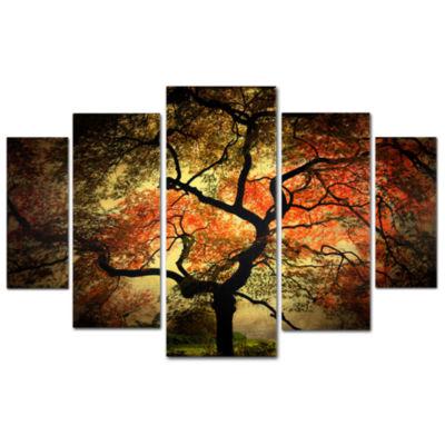 Japanese Tree 5-Panel Canvas Wall Art Set