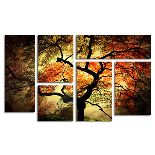 Japanese Tree 6-Panel Canvas Wall Art Set