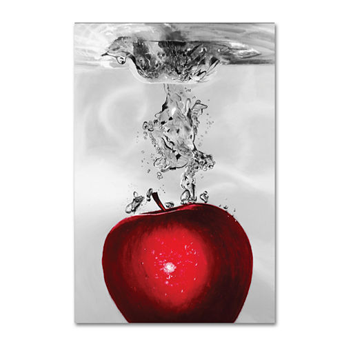 Red Apple Splash Canvas Wall Art