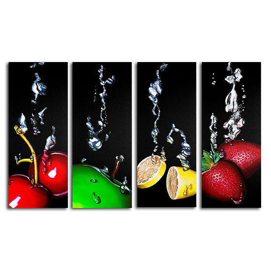 Splash 4-Panel Canvas Wall Art Set