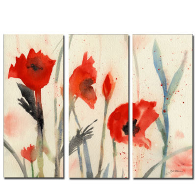Poppies 3-Panel Canvas Wall Art Set