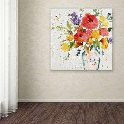 White Vase With Flowers Canvas Wall Art