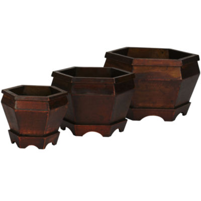 Nearly Natural Set of 3 Wooden Hexagon Decorative Planters