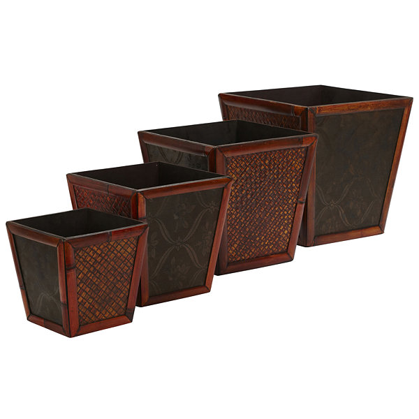 Nearly Natural Bamboo Square Decorative Planters Set Of 4