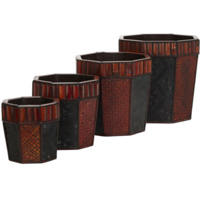 Nearly Natural Bamboo Octagon Decorative Planters Set Of 4