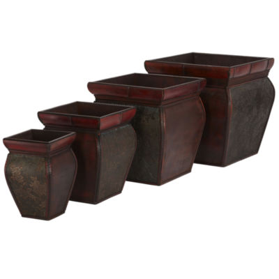 Nearly Natural Square Planters With Rim Set Of 4