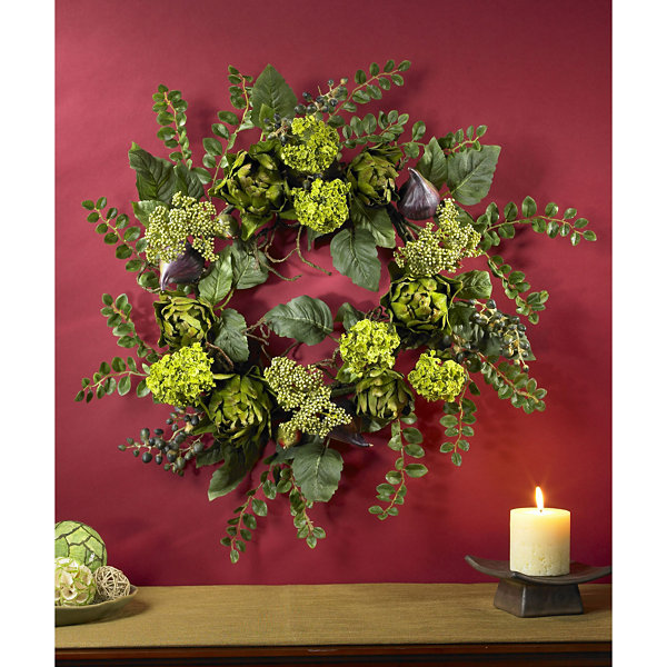 "Nearly Natural 20"" Artichoke Floral Wreath"