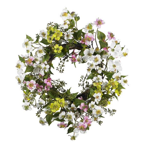 "Nearly Natural 20"" Dogwood Wreath"