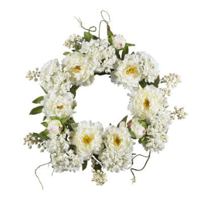 """Nearly Natural 20"""" Peony Hydrangea Wreath"""
