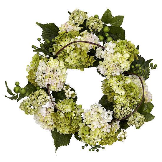 Nearly Natural 22 Hydrangea Wreath