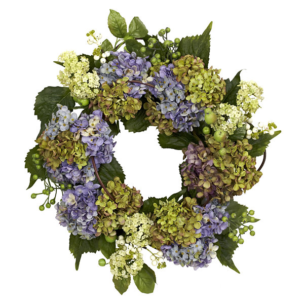 Nearly Natural 22 Hydrangea Wreath