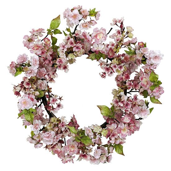 """Nearly Natural 24"""" Cherry Blossom Wreath"""