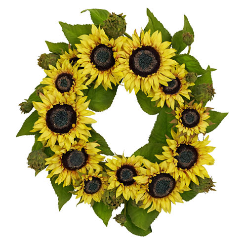 """Nearly Natural 22"""" Sunflower Wreath"""