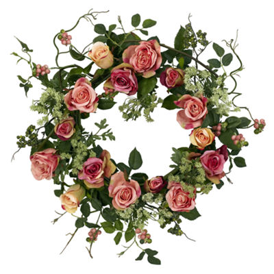 "Nearly Natural 20"" Rose Wreath"