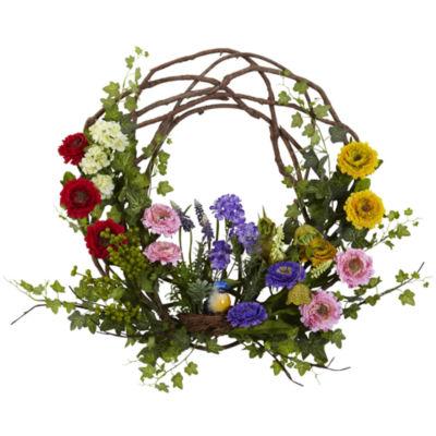 "22"" Spring Floral Wreath"
