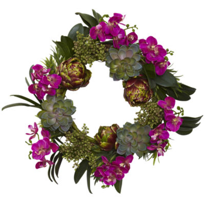 "20"" Orchid, Artichoke & Succulent Wreath"