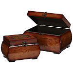 Nearly Natural Set of 2 Decorative Lacquered Wood Chests