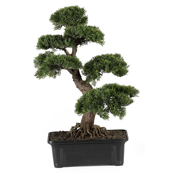 "Nearly Natural 24"" Cedar Bonsai Silk Plant"