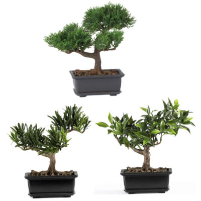 Nearly Natural Bonsai Silk Plant Collection Set Of 3