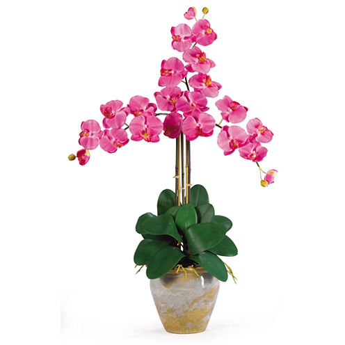 Nearly Natural Triple Phalaenopsis Silk Orchid Flower Arrangement
