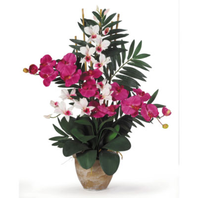 Nearly Natural Double Phalaenopsis/Dendrobium Silk Flower Arrangement