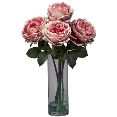 Nearly Natural Fancy Rose With Cylinder Vase Silk Flower Arrangement