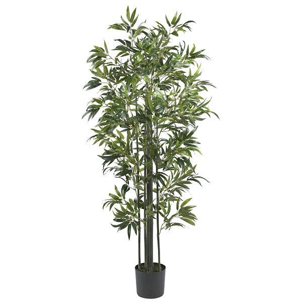 Nearly Natural 6-ft. Bamboo Silk Tree with Green Trunks