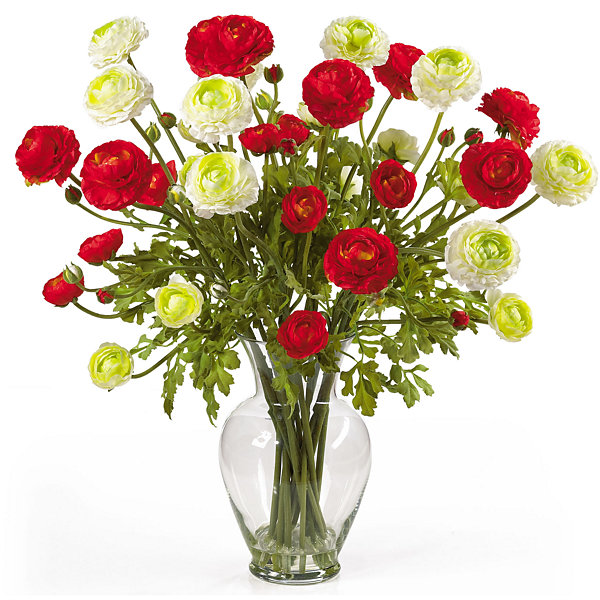 Nearly Natural Ranunculus Liquid Illusion Silk Flower Arrangement