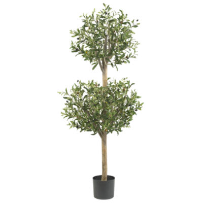 Nearly Natural 4.5-ft. Olive Double Topiary Silk Tree