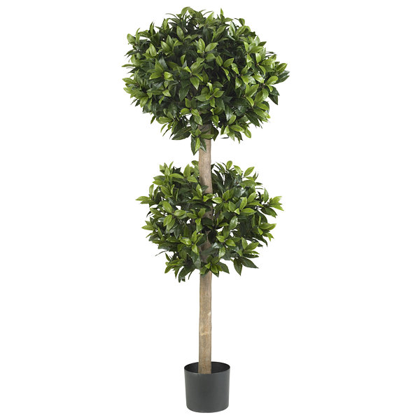 "Nearly Natural 57"" Sweet Bay Double Ball Topiary Silk Tree"