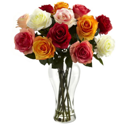 Nearly Natural Assorted Blooming Roses With Vase