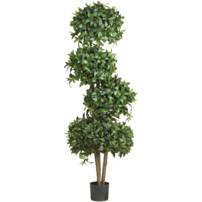 "Nearly Natural 69"" Sweet Bay Topiary Silk Tree with 4 Balls"
