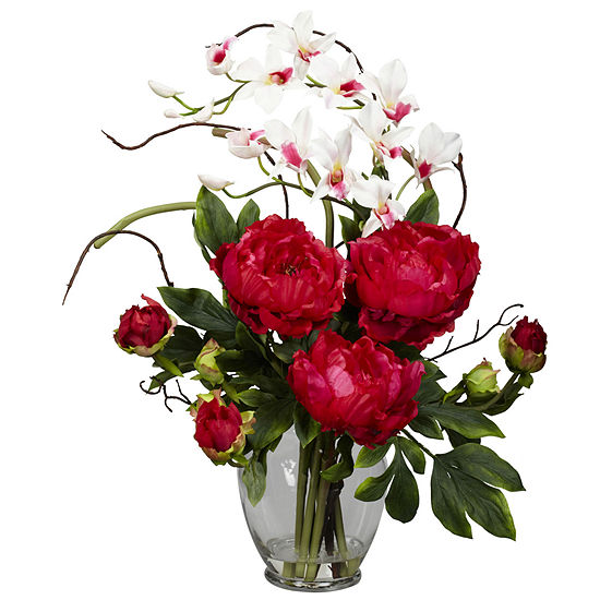 Nearly Natural Peony and Orchid Silk Flower Arrangement