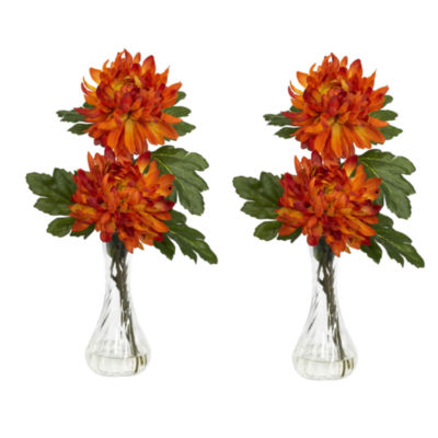 Nearly Natural Mum With Bud Vase Silk Flower Arrangement Set Of 2
