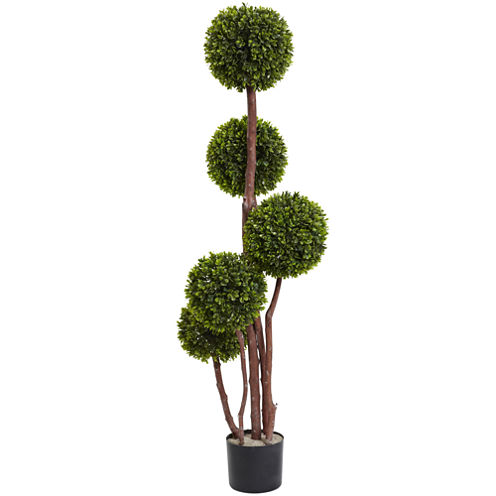Nearly Natural 4-ft.  Boxwood Topiary Tree X5 Uv Resistant Indoor/Outdoor