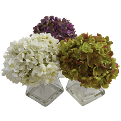 Nearly Natural Hydrangea With Vase Set Of 3