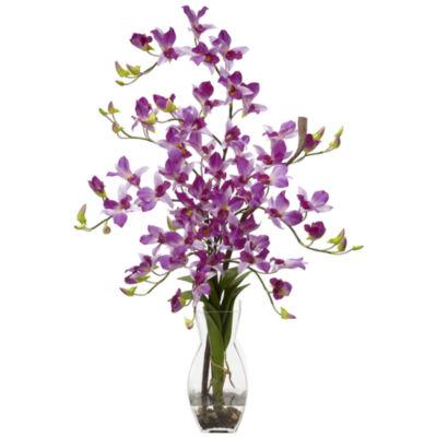 Nearly Natural Dendrobium With Vase Silk Flower Arrangement
