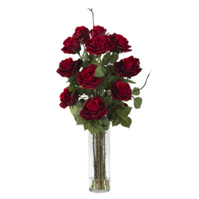 Nearly Natural Roses Silk Flower Arrangement with Cylinder Vase
